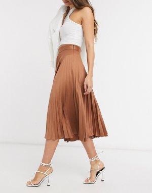 Плиссированная атласная юбка миди коричневого цвета -Коричневый Closet London