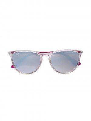 Солнцезащитные очки в круглой оправе RAY-BAN JUNIOR. Цвет: золотистый