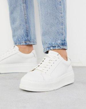 Белые кожаные кроссовки на платформе -Белый Vagabond