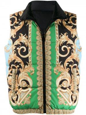 Дутый жилет с принтом Barocco Versace. Цвет: зеленый