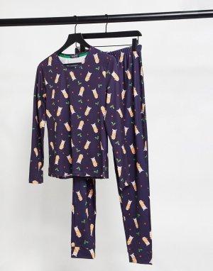 Темно-синий пижамный комплект с принтом в виде укутанных одеяло свинок Loungeable