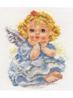 Набор для вышивания Ангелок мечты  11х14 см. Алиса. Цвет: бежевый, голубой, желтый