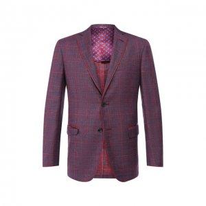 Пиджак из смеси шерсти и шелка Zilli. Цвет: красный