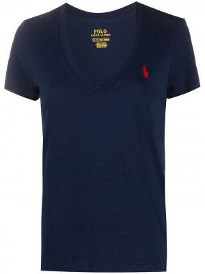 Футболка с вышитым логотипом и V-образным вырезом Polo Ralph Lauren. Цвет: синий