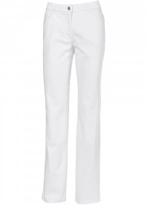 Прямые брюки стретч bonprix. Цвет: белый