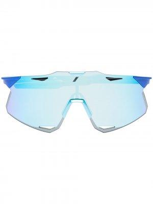 Зеркальные солнцезащитные очки Hypercraft в квадратной оправе 100% Eyewear. Цвет: синий