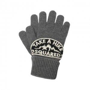 Шерстяные перчатки Dsquared2. Цвет: серый