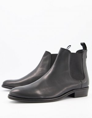 Черные кожаные сапоги на кубинском каблуке Walk London-Черный LONDON
