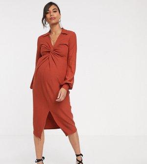 Фактурное платье миди с перекрученной отделкой ASOS DESIGN Maternity-Оранжевый Maternity