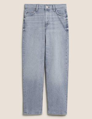 Джинсы-бойфренды до щиколотки Grazer с эластичной резинкой M&S Collection. Цвет: серый