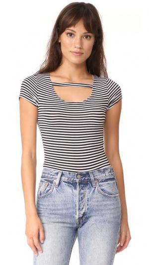 Боди Maya с футболкой в полоску LNA. Цвет: черный/белая полоска