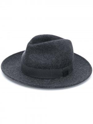 Трикотажная шляпа федора Emporio Armani. Цвет: серый