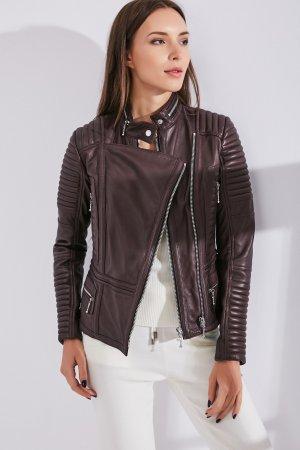 Женская Кожаная куртка 0307 INA VOKICH. Цвет: бордовый