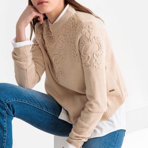 Пуловер с круглым вырезом и вышивкой из тонкого трикотажа PEPE JEANS. Цвет: экрю