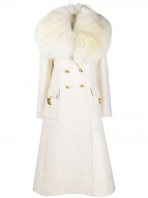Двубортное пальто миди LANVIN. Цвет: белый