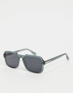 Мужские солнцезащитные очки в квадратной серой оправе Cut Twenty-Зеленый Spitfire