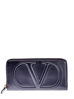 Кожаный кошелек с архивной стеганой эмблемой VLOGO VALENTINO GARAVANI. Цвет: черный