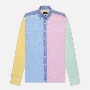 Мужская рубашка Multi Panel Linen Hackett. Цвет: голубой