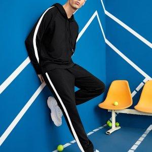 Мужская толстовка на кулиске и спортивные брюки SHEIN. Цвет: чёрный
