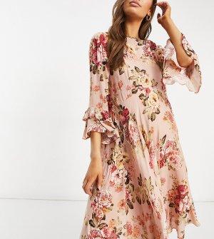 Платье с короткой расклешенной юбкой и цветочным принтом Maternity-Розовый цвет Queen Bee