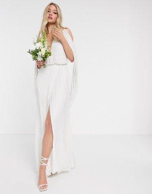 Свадебное платье с отделкой бисером и драпированными рукавами -Белый ASOS EDITION