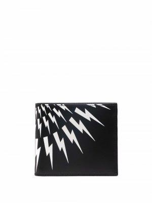 Thunderbolt logo billfold wallet Neil Barrett. Цвет: черный