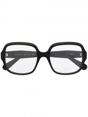 Очки в квадратной оправе Gucci Eyewear. Цвет: черный