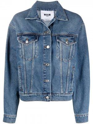 Джинсовая куртка с логотипом MSGM. Цвет: синий