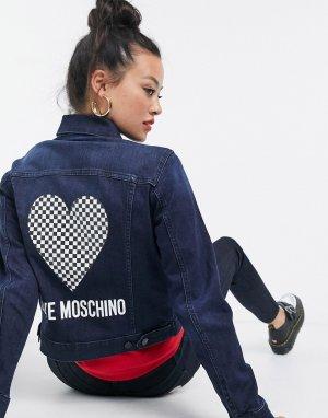 Синяя джинсовая куртка с логотипом в виде сердца -Синий Love Moschino