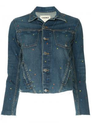 Укороченная джинсовая куртка L'agence. Цвет: синий