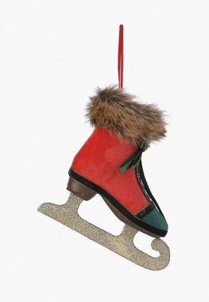 Игрушка елочная Decogallery Новогодняя ёлочная подвеска Конёк. Цвет: разноцветный
