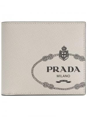Бумажник с принтом логотипа Prada. Цвет: белый