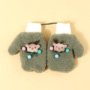 Рождественские перчатки для девочек SHEIN. Цвет: зелёный