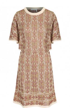 Вязаное мини-платье с круглым вырезом Chloé. Цвет: коричневый