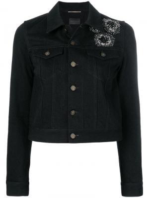 Джинсовая куртка с вышивкой Saint Laurent. Цвет: черный