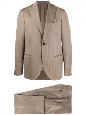 Delloglio костюм-двойка в тонкую полоску Dell'oglio. Цвет: коричневый