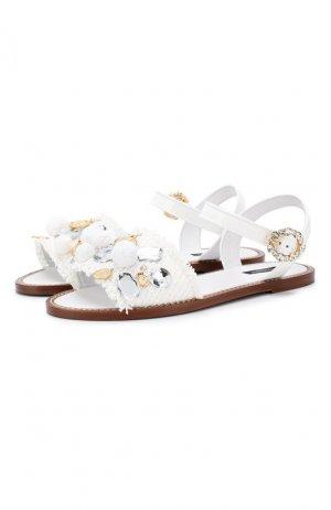Плетеные сандалии Dolce & Gabbana. Цвет: белый