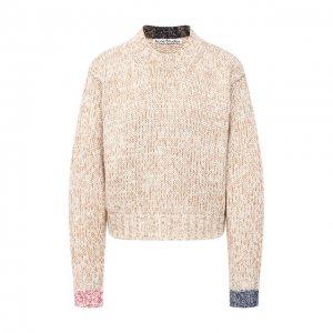 Хлопковый свитер Acne Studios. Цвет: бежевый