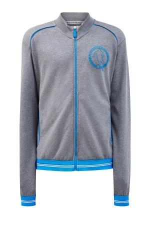 Хлопковая толстовка из футера с фирменным логотипом Soccer BIKKEMBERGS. Цвет: серый
