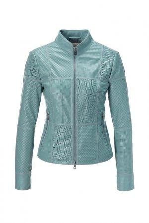 Куртка кожаная Madeleine. Цвет: bleu