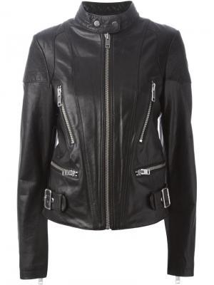 Кожаная куртка с воротником-стойкой Diesel. Цвет: чёрный