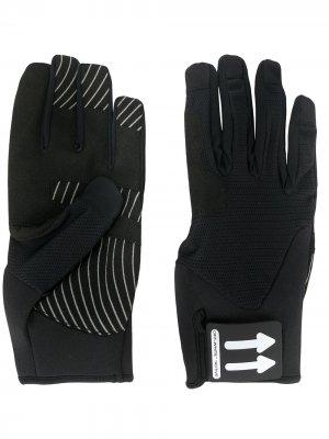 Перчатки с нашивкой-логотипом Off-White. Цвет: черный
