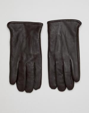 Коричневые кожаные перчатки для сенсорных гаджетов -Коричневый ASOS DESIGN