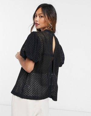 Черная блузка с высоким воротом -Черный Elvi