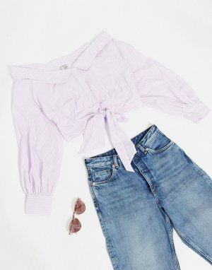 Лавандовая рубашка в полоску с открытыми плечами и длинными рукавами -Мульти ASOS DESIGN