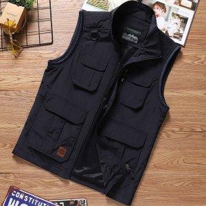 Мужской Жилет-куртка с заплатой карманом на молнии SHEIN. Цвет: чёрный