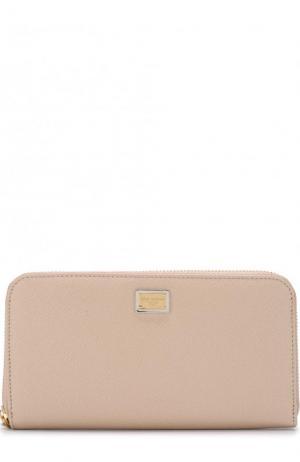Кожаный кошелек с тиснением Dauphine Dolce & Gabbana. Цвет: бежевый
