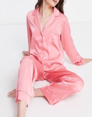 Атласная пижамная рубашка и тканевая резинка для волос розового цвета с неоновой окантовкой «Выбирай комбинируй»-Розовый ASOS DESIGN