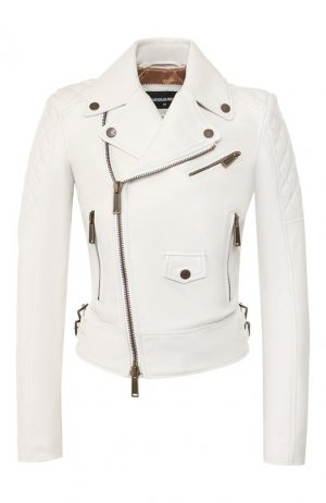 Кожаная куртка Dsquared2. Цвет: белый