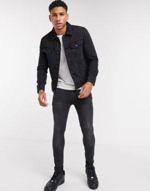 Черная джинсовая куртка из органического хлопка -Черный Burton Menswear